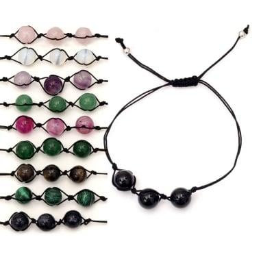 Гривна текстил естествени камъни 10 мм АСОРТЕ
