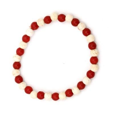 Гривна естествен камък Тюркоаз бял и червен 6 мм
