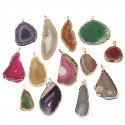 Висулка естествен камък АХАТ АСОРТЕ цветове и форми 25~70x45~115x4~8 мм