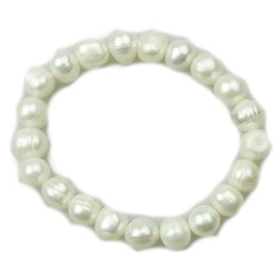 Гривна естествена перла клас АА 8±9x8±9 мм бяла