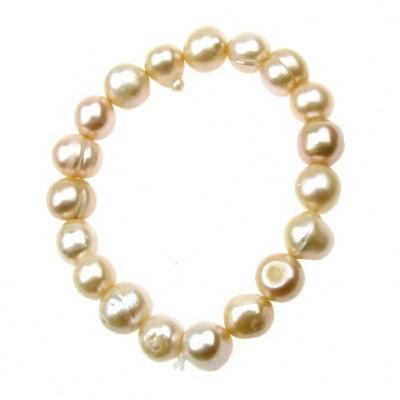 Естествена перла 8±9x8±9 мм кремава клас АА - гривна