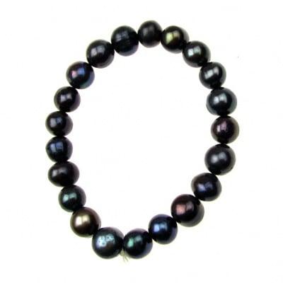 Гривна естествена перла 8±9x8±9 мм черна клас АА