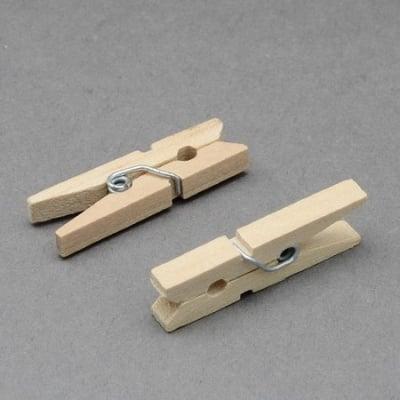 Щипки дървени 6x35 мм цвят дърво -25 броя
