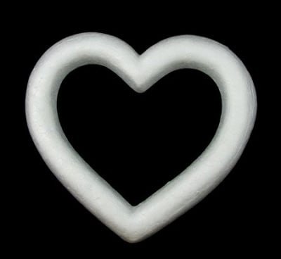 Сърце дупка стиропор 175х160 мм. за декорация -1 брой