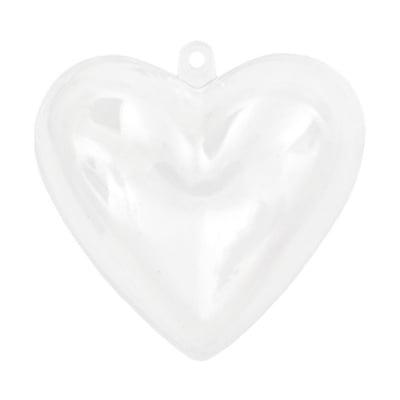 Сърце пластмасово прозрачно 2 части 65x62x40 мм