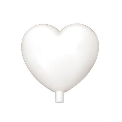 Сърце пластмасово 95 мм с накрайник дупка 8 мм бяло