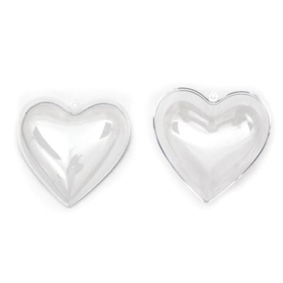 Сърце пластмасово прозрачно 2 части 100x70 мм