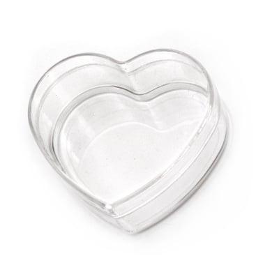 Кутия пластмасова прозрачна сърце 65x60x30 мм