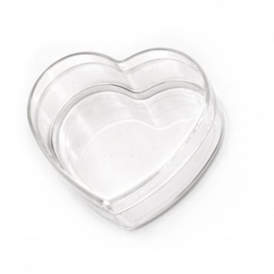 Кутия пластмасова прозрачна сърце 85x77x39 мм