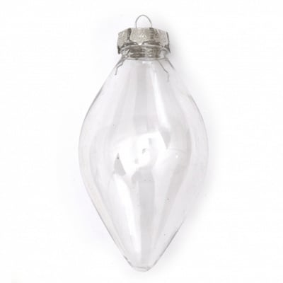 Комплект капка пластмасова прозрачна 65x120 мм с една дупка шапка метална 25x25x10 мм и държач метален 36 мм