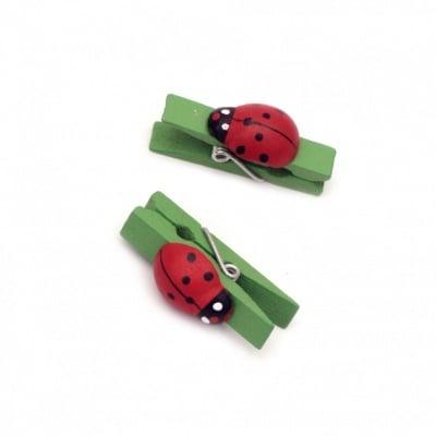 Щипки дървени 7х36 мм с калинка зелени -20 броя