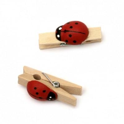 Щипки дървени 7х36 мм с калинка цвят дърво -20 броя