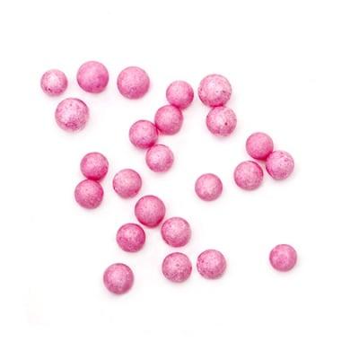 Топче стиропор 7-9 мм за декорация розово тъмно ~7 грама ~1900 броя