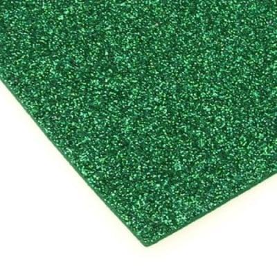 EVA материал /микропореста гума/ 2 мм А4 20х30 см с брокат зелен