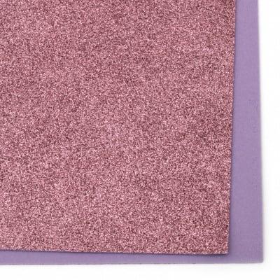 EVA материал /микропореста гума/ 2 мм А4 20х30 см с брокат розов