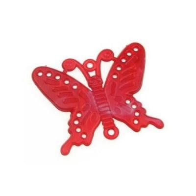 Висулка свързващ елемент пеперуда 45х56 мм червена меланж