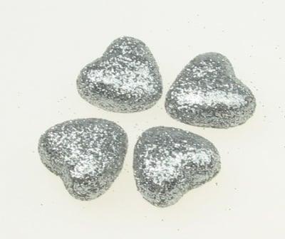 Сърце стиропор 20х20 мм брокат сребро -10 броя