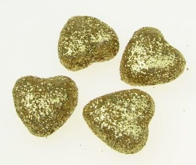 Сърце стиропор 20х20 мм брокат злато -10 броя