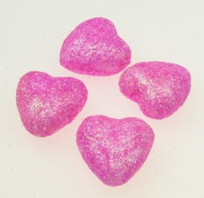 Сърце стиропор 20х20 мм брокат розово -10 броя