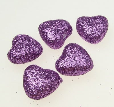 Сърце стиропор 20х20 мм брокат лилаво -10 броя