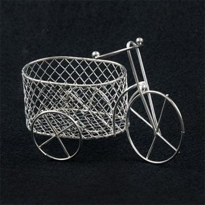 Кошница метална 110x70 мм цвят сребро колело