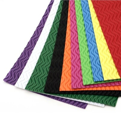 EVA материал /микропореста гума/ 2 мм А4 20х30 см на вълни АСОРТЕ цветове -10 листа