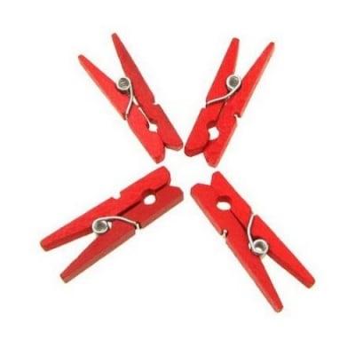 Щипки дървени 4х30 мм червени -50 броя