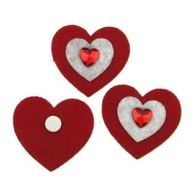 Сърце филц 3в1 с лепка 35x40 мм -10 броя