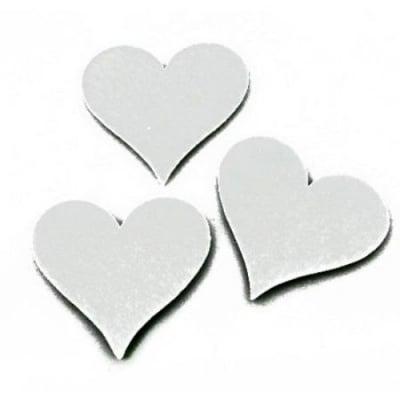 Сърце филц 55x60x3 мм бяло -5 броя