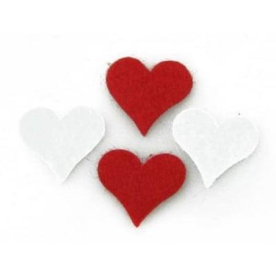 Сърце филц 17x20x1 мм бяло и червено по 10 броя