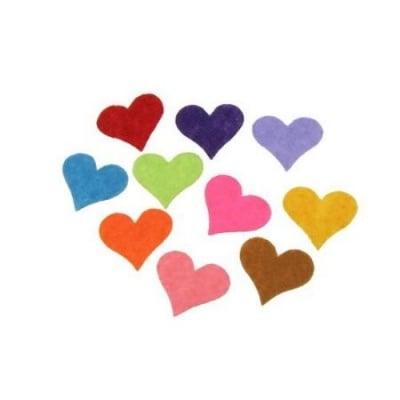 Сърце филц 17x20x1 мм микс цветове 20 броя