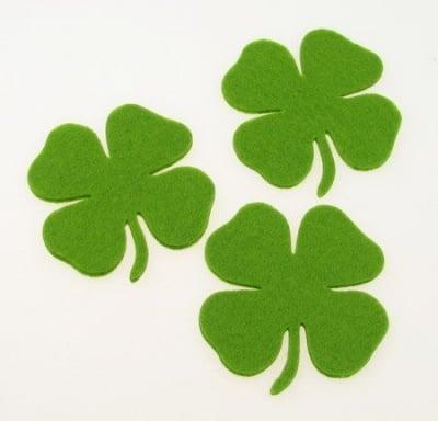 Детелина с дръжка от филц 65х3 мм зелена светло -5 броя