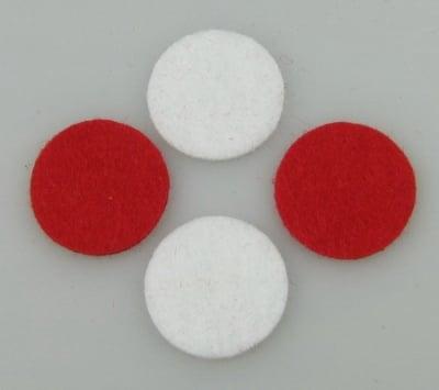 Кръг филц 24x2 мм бял и червен по 10 броя
