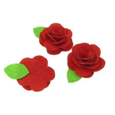 Роза с листо филц 35 мм червена -5 броя