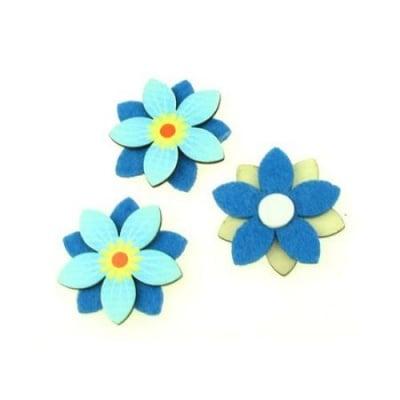 Цвете дърво и филц с лепка 45 мм пет листа синьо -10 броя