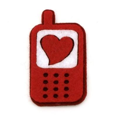 Телефон филц 25х45 мм със сърце -10 броя