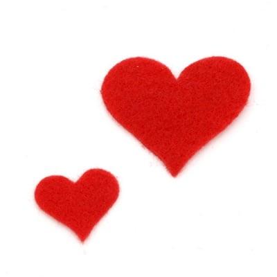Сърце филц мек 20x1.5 мм и 38x1.5 мм червено-18 броя