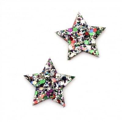 Звезда филц с кожа и брокат 34x3 мм -10 броя