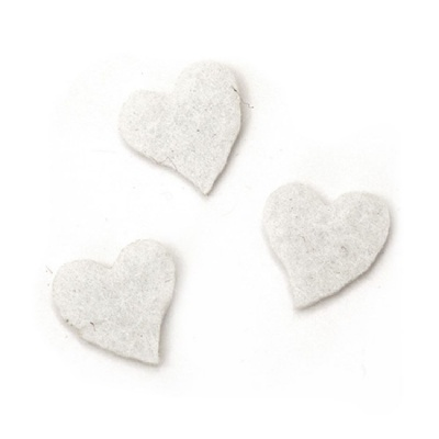 Сърце филц 13x13x2 мм бяло -20 броя