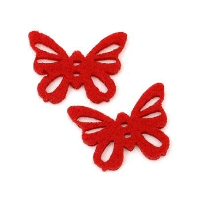 Пеперуда филц 35x27x3 мм червена -10 броя
