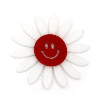 Цвете филц с усмивка 50x2 бяло с червено -10 броя