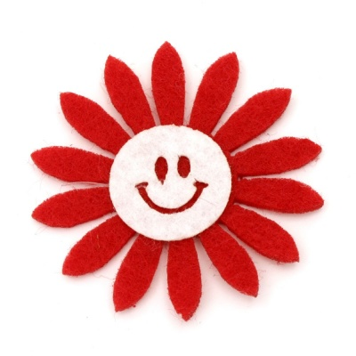 Цвете филц с усмивка 50x2 червено с бяло -10 броя