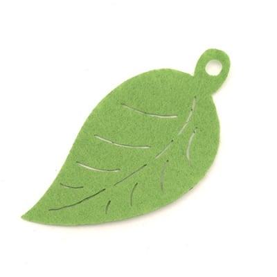Висулка листо филц 80x39x1 мм дупка 5 мм -10 броя