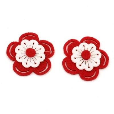 Цвете филц 37x38x6 червено с бяло 3 пласта -10 броя