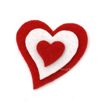 Сърце филц 51x48x6 мм 3 пласта -10 броя