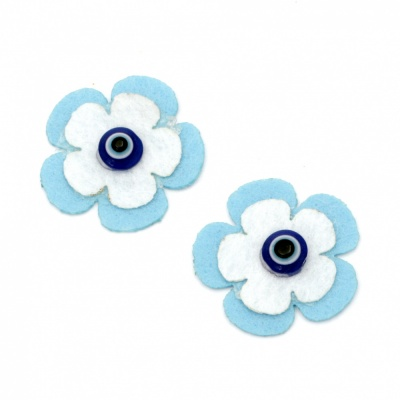 Цвете филц 30 мм със синьо око -5 броя