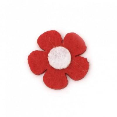Цвете филц 25x2 мм червено с бяло -10 броя