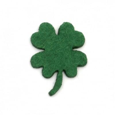 Детелина с дръжка от филц 33x2 мм зелена тъмна -10 броя