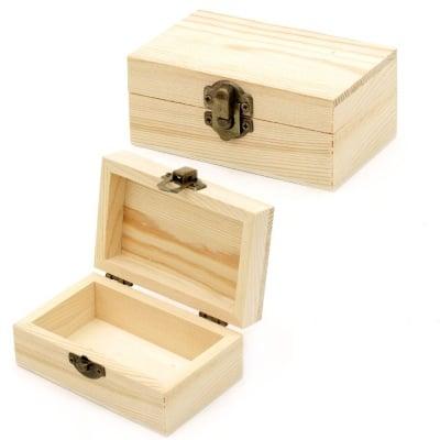 Кутия дървена 110x70x45 мм метална закопчалка