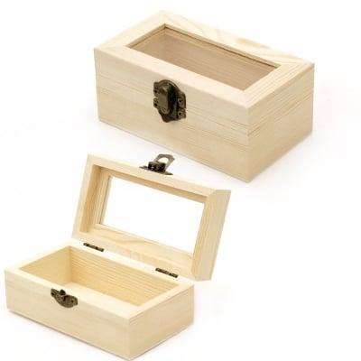 Кутия дървена 124x74x50 мм прозорче